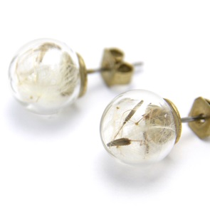 Earrings dandelion seeds
