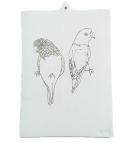 2 Parakeets Porcelain card