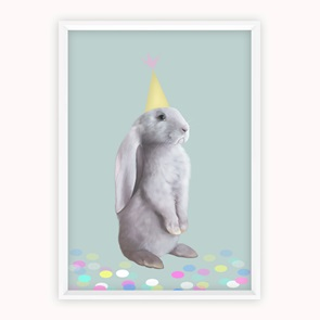 Kunst-print Party Rabbit