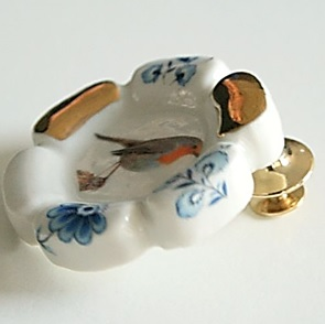 Roodborst Broche Gold/Blue