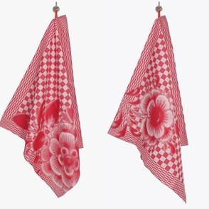 2 Teatowels red flowers
