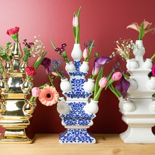 Tulp vase 3 parts Delfts Blue