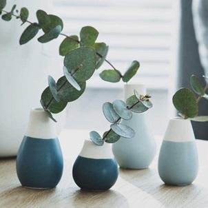 Set little vases blue