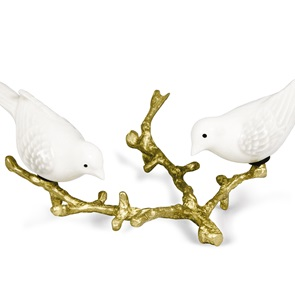 2 White birds on golden branch