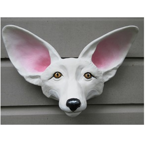 Fox head sculpture painted