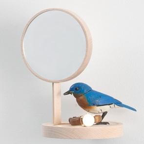 Wall shelf with mirror