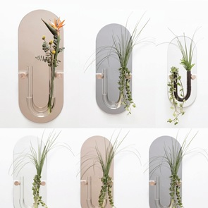 You-tube mirror wallvase Silvergrey