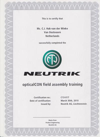 Neutrik diploma