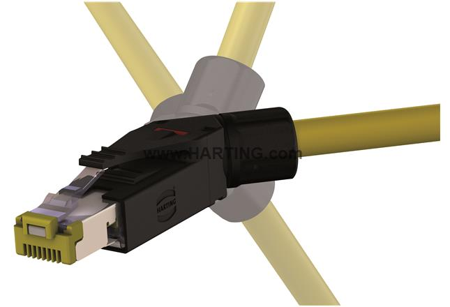 HARTING RJ45 Field connector 09451511561 RJI 10G RJ45 plug Cat6, 8p IDC angled<br />Cable connector, 45° angled, IDC termination, Contacts: 8, Conductor cross-section