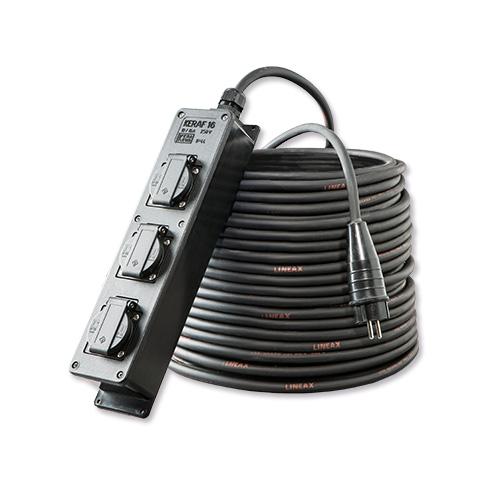 Stroom HO7RN-F Schuko / Verlengkabel  3x1,5mm²  met aangemonteerde volrubber contactstop en 3 voudige verdeeldoos. 3x1,5mm²