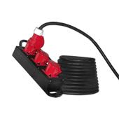 Stroom CEE 16A 400V 5 polig  verlengkabel kracht  met volrubber verdeeldoos HO7RN-F kabel  5x2,5mm²