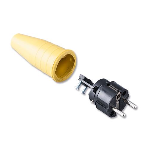 Keraf volrubber contactstop 16A 250V~ penaarde artikel 105222  Geel/Zwart