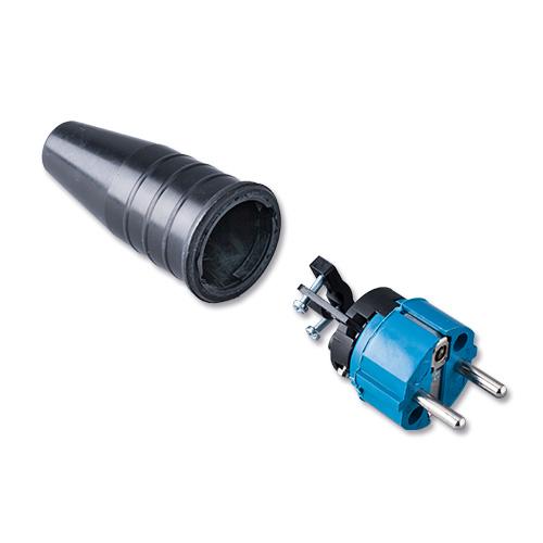 Keraf volrubber contactstop 16A 250V~ penaarde artikel 108868  Blauw/Zwart