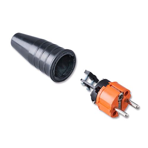 Keraf volrubber contactstop 16A 250V~ penaarde artikel 108870  Oranje/Zwart