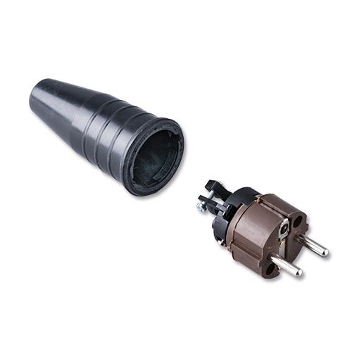 Keraf volrubber contactstop 16A 250V~ penaarde artikel 112448  Bruin/Zwart