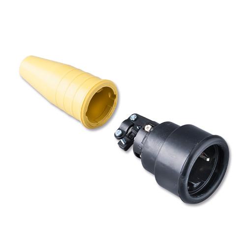 Keraf volrubber contactstop 16A 250V~ penaarde artikel 112734  Zwart/Geel