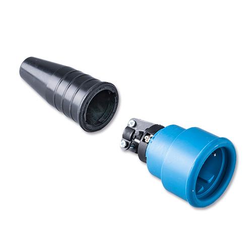 Keraf volrubber contactstop 16A 250V~ penaarde artikel 114177  Zwart/Blauw