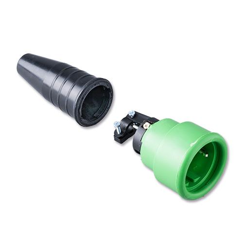 Keraf volrubber contactstop 16A 250V~ penaarde artikel 114181  Zwart/Groen
