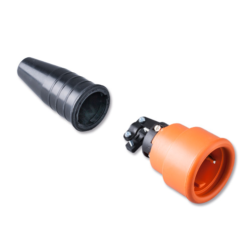 Keraf volrubber contactstop 16A 250V~ penaarde artikel 114183  Zwart/Oranje