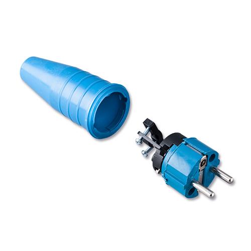 Keraf volrubber contactstop 16A 250V~ penaarde artikel 114186 Blauw