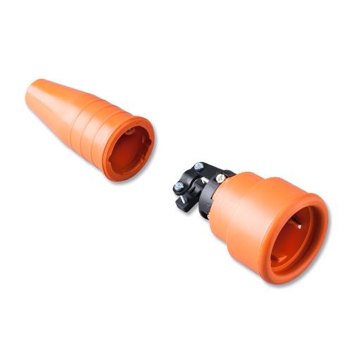Keraf volrubber contactstop 16A 250V~ penaarde artikel 114202  Oranje/Oranje