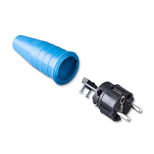 Keraf volrubber contactstop 16A 250V~ penaarde artikel 114207  Blauw/Zwart
