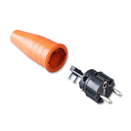 Keraf volrubber contactstop 16A 250V~ penaarde artikel 114212  Oranje /Zwart