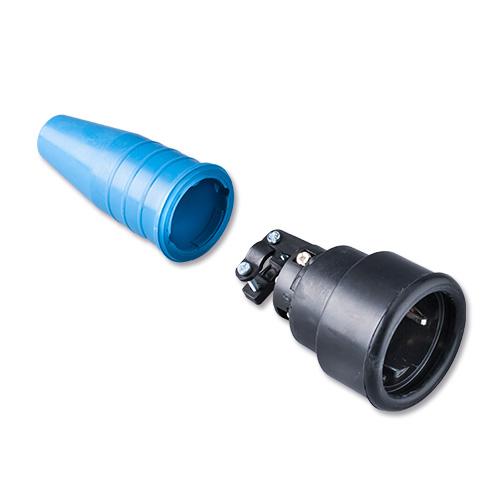 Keraf volrubber contactstop 16A 250V~ penaarde artikel 114216  Zwart/Blauw