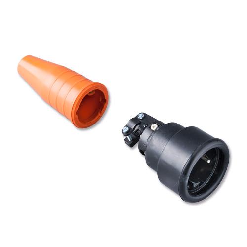 Keraf volrubber contactstop 16A 250V~ penaarde artikel 114221  Zwart/Oranje