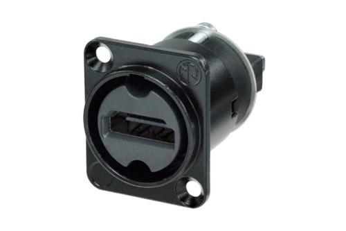 Neutrik Multimedia NAHDMI-W-B<br />HDMI feedthrough adapter, black D-shape housing