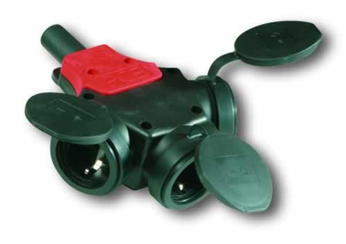 PCE drieweg rubber contactstop met  randaarde
