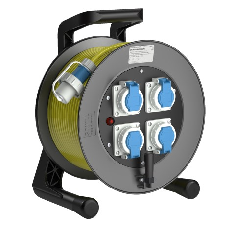 Professional Line Power for wet areas   WS4<br />GT 380.WS4.50PU315*<br />Part-No. 275 34 525 000<br />Degree of protection IP55<br />Cable (m) 50<br />Cable type H07BQ-F 3G1,5                                                                                                                         4 earthed sockets which are resistant to pressurised water, 2-pin + E, 16A, 230V (IP68)<br />bayonet closure