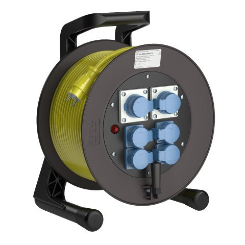 Professional Line  Power MD6  Yellow<br />GT 380.MD6.50PU315*<br />Part-No. 275 48 525 000<br />Degree of protection IP54<br />Cable (m) 50<br />Cable type H07BQ-F 3G1,5                                                                                                                           6 earthed machine sockets, 2-pin + E, 16A, 230V<br />self-closing hinged covers