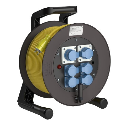 Professional Line Power (L) indicator MD6 Yellow<br />GT 380.MD6L.50PU325*<br />Part-No. 275 50 535 000<br />Degree of protection IP54<br />Cable (m) 50<br />Cable type H07BQ-F 3G2,5.                                                                                                                          6 earthed machine sockets, 2-pin + E, 16A, 230V<br />self-closing hinged covers