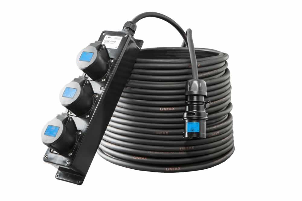 CEE 16A 250V zwarte verlengkabel met massief rubberen 3-voudige aansluitdoos 3x1,5mm²artikel 112944