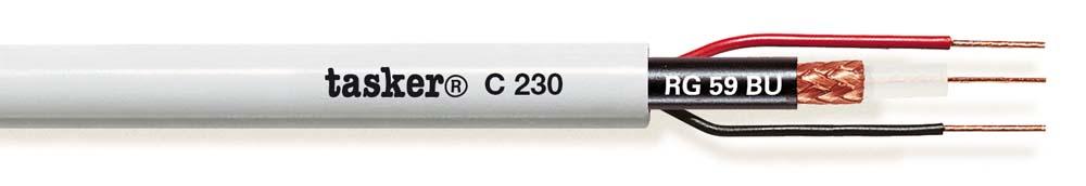 Beveiligingsvideo + voedingskabel 75 Ohm<br />C230