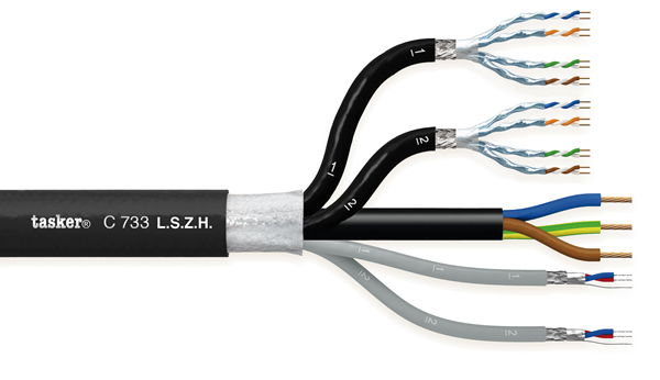 LAN Komby-kabel digitale audio + CAT7 + voeding 2x2x0,22 + 2x (4x2x0,15) + 3x1,50 in LSZH<br />C733 L.S.Z.H.