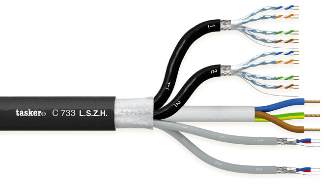 Komby cable digital Audio + CAT7 + Power 2x2x0.22+2x(4x2x0.15)+3x1.50 in LSZH<br />C733 L.S.Z.H.