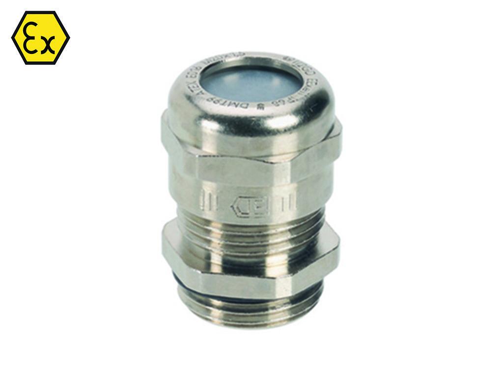 EX EMC Messing Jacob kabelwartel metrisch                                                                                Schroefdraad aansluiting M12 x 1,5                                                                                                                                                                                                            Schroefdraad lengte (mm)  5                                                                                                             Kabel diameter  min. 3,0  mm  max 6,0                                                                                              Materiaal Messing