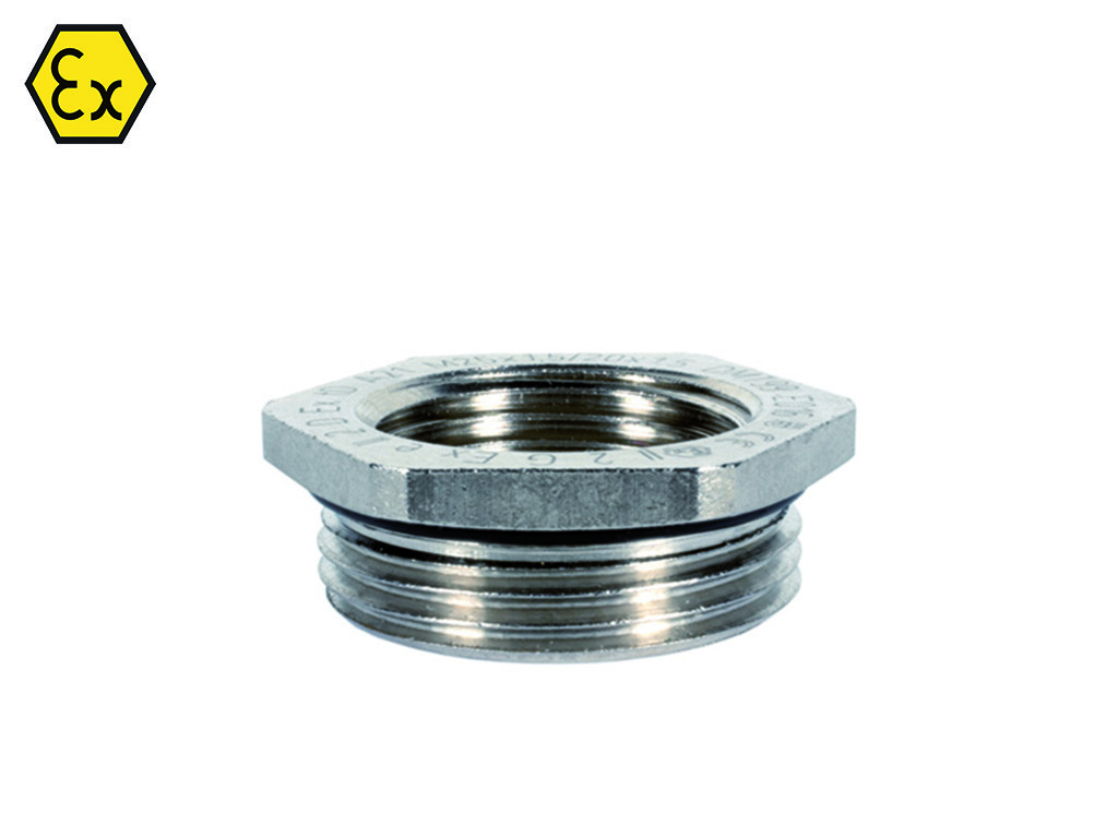 EX  Messing Jacob reduceerringen metrisch                                                                                Schroefdraad aansluiting M16 x 1,5 - M12 x 1,5                                                                                                                                                                                                            Schroefdraad lengte (mm)  5,0                                                                                                                                                                                                         Materiaal Messing