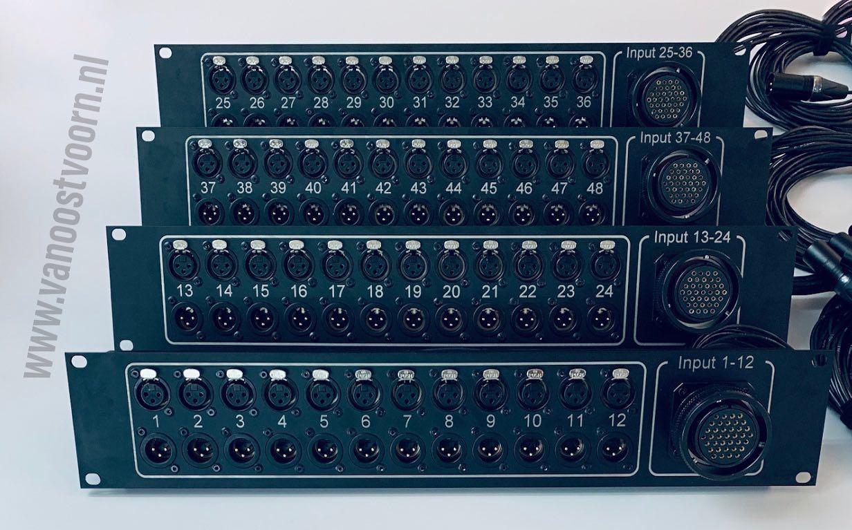 Tasker®Live 19Inch panelen t.b.v. stagerack met 48 * XLR in; 48 * XLR. Inclusief eigen logo