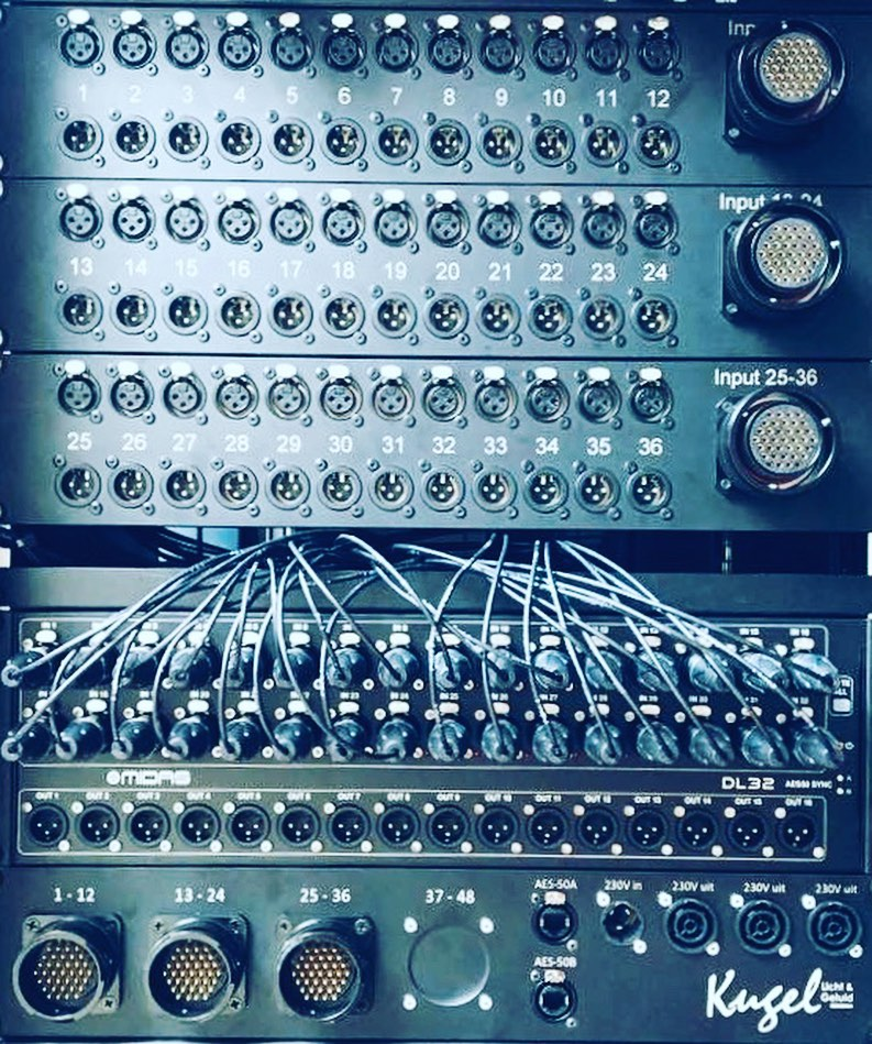 Tasker®Live 19Inch panelen stagerack 36 kanaals met 36 x XLR in en 36 x XLR out, tevens voorzien van 3 * LK37 in en 3 * LK37 out.Inclsief eigen.logo