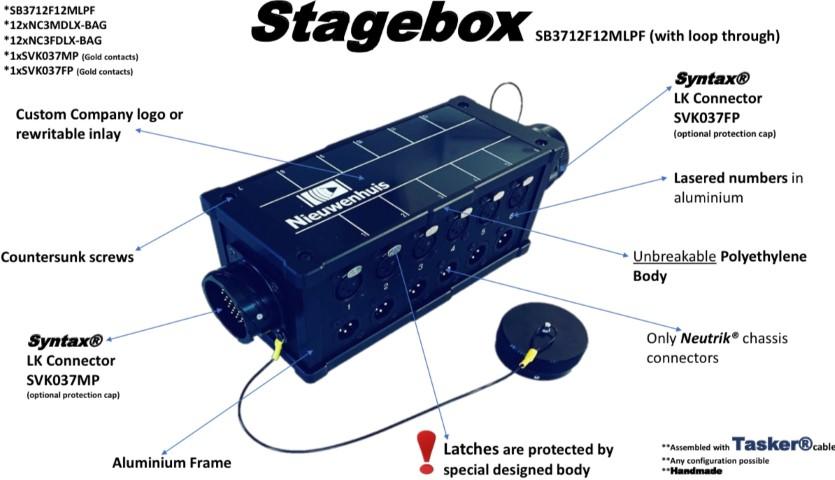 Tasker®Live Stagebox - Breakoutbox Geïnstalleerd  Neutrik® 12 NC3 FDLX-BAG - 12 NC3MDLX-BAG , Syntax® 1 SVK037MP en 1 SVK037FP connectors en Tasker®kabel. Artikel SB3712F12FMPF