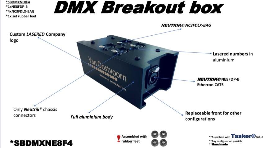 Tasker®Live DMX Breakout Box   Geïnstalleerd  Neutrik® 1 NE8FDP-B - 4 NC3FDLXBAG  connectors en Tasker®kabel . Artikel SBDMXNE8F4