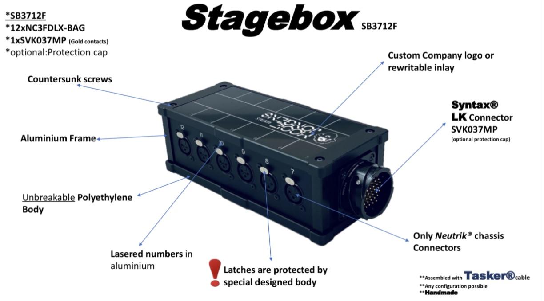 Tasker®Live Stage Breakout Box   Geïnstalleerd  Neutrik®  12 NC3FDLXBAG  connectors en Syntax SVK037MPTasker®kabel . Artikel SB3712F