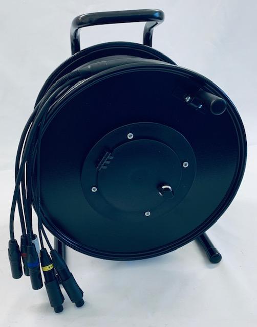 HYBRID Combi kabel  C732 Tasker kabel  2 x Digitaal audio + 2 x Cat 5e S-FTP  met Neutrik connectors op  Schill Haspel