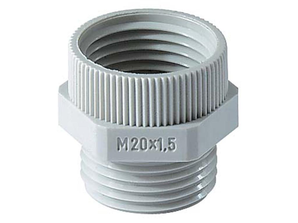 Polyamide PA6 GF30 Jacob adapters PG naar metrisch<br />Schroefdraad  PG9 - M12 x 1,5<br />Materiaal Polyamide 6                                                                                                                   kleur  lichtgrijs RAL 7035 light grey