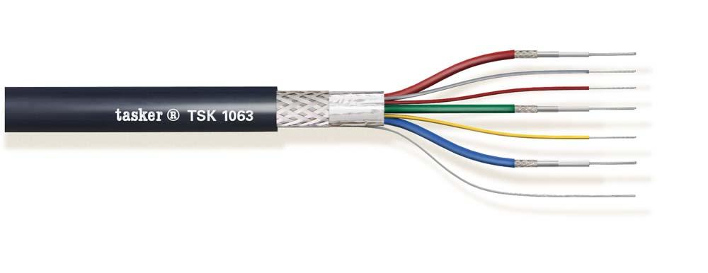 Multivideokabel 3x75 Ohm + 3x0,22 dubbele afscherming<br />TSK1063