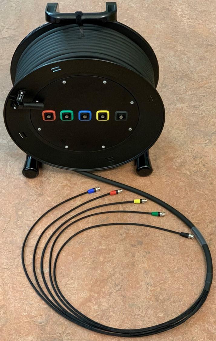 Video/RGB HV kabel 5BNC-5BNC Neutrik connectoren TSK1066 op SCHILL Haspel