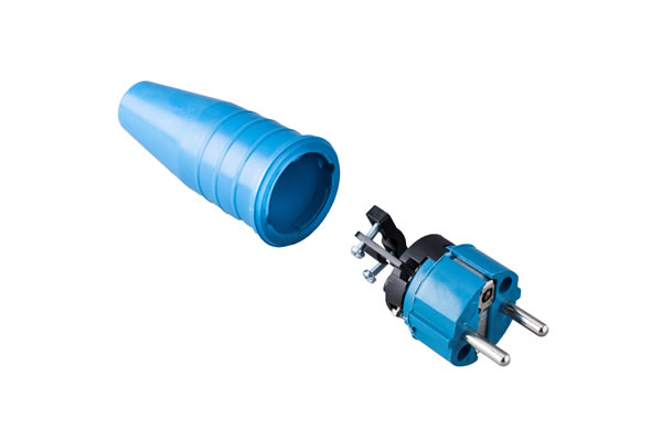 Solid rubbercontact stop plug 16A, 250V in the coulor blue/blue .